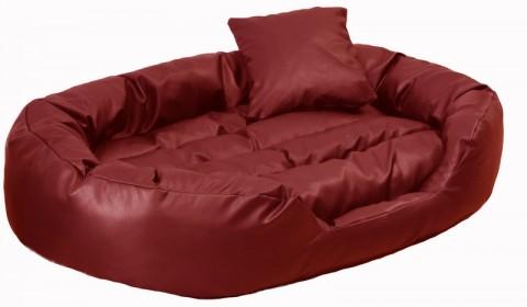 Hundebett PHILIP XXL 140 cm Kunstleder Bordeaux-Rot