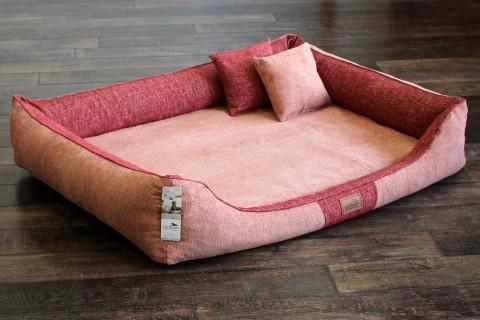 AUSSTELLUNGSSTÜCK   Orthopädisches Hundebett QUENTIN VISCO XXL 130x100 cm   Rosa Koralle/Rubin Rot   QUE5-07-A97