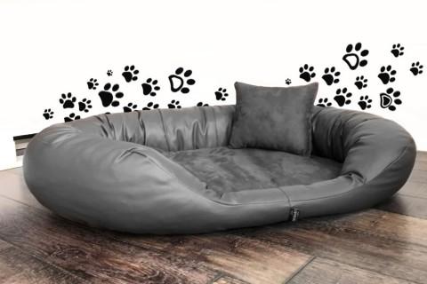 Orthopädisches Hundebett SAMMY KUNSTLEDER / VELOURS-Clean Visco