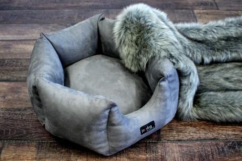 AUSSTELLUNGSSTÜCK | Ultraweiches Mini Hundebett HEKTAGON 6-eckig Velours Durchmesser 55 cm | 02 Graphit
