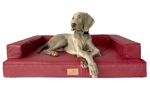 Orthopädisches Hundesofa GIBSON VISCO XXL 150 cm Kunstleder Bordeaux Rot
