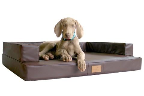 Orthopädisches Hundesofa GIBSON VISCO L 100 cm Kunstleder Braun L | Braun