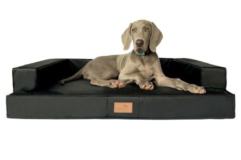 Orthopädisches Hundesofa GIBSON VISCO L 100 cm Kunstleder Schwarz L | Schwarz