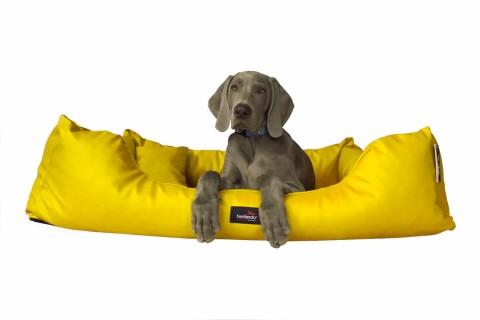 Hundebett MILEN XL+ 130 cm komplett Kunstleder Gelb