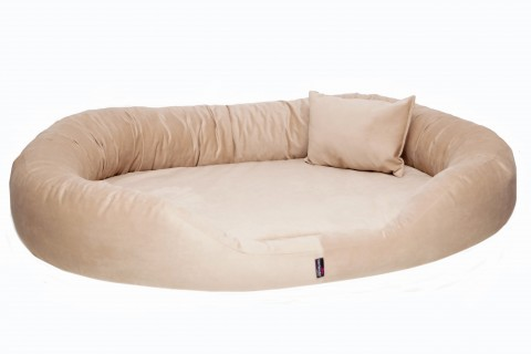 Orthopädisches Hundebett SAMMY VISCO XXL 140 cm High-Tech Velours Triton Beige