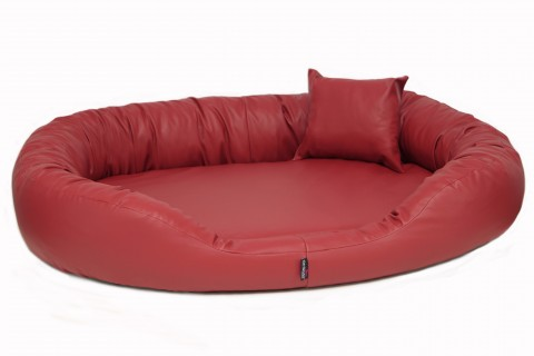 Orthopädisches Hundebett SAMMY VISCO L 100 cm ANTI-HAAR Kunstleder Bordeaux-Rot L | Bordeaux-Rot