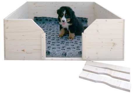 Welpen-Wurfbox/Wurfkiste aus Holz 140 x 120 cm