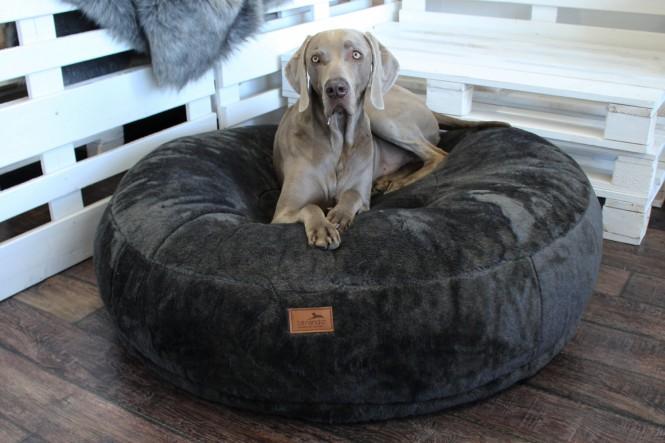 EINZELSTÜCK | Dognut Hundebett Orthopädisch Anthrazit Kurzflor AIRFLAKE System 110cm Ø