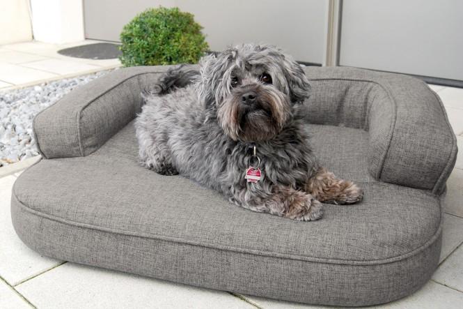 Orthopädisches Hundesofa LOTTE VISCO PLUS M 80 cm Webstoff Mélange Schwarz M   Graphit