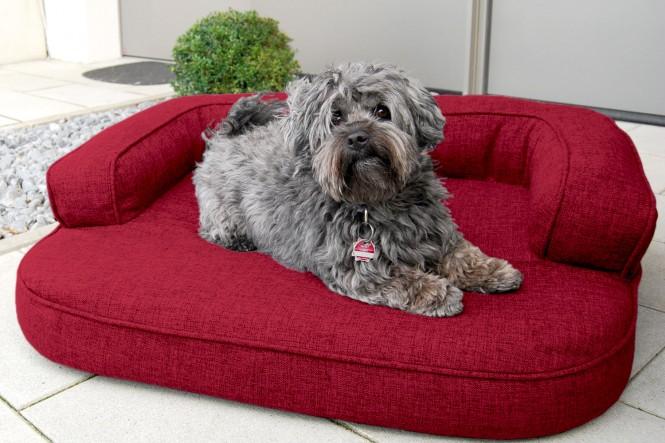 Orthopädisches Hundesofa LOTTE VISCO PLUS M 80 cm Webstoff Mélange Bourdeaux Rot M | Bordeaux-Rot