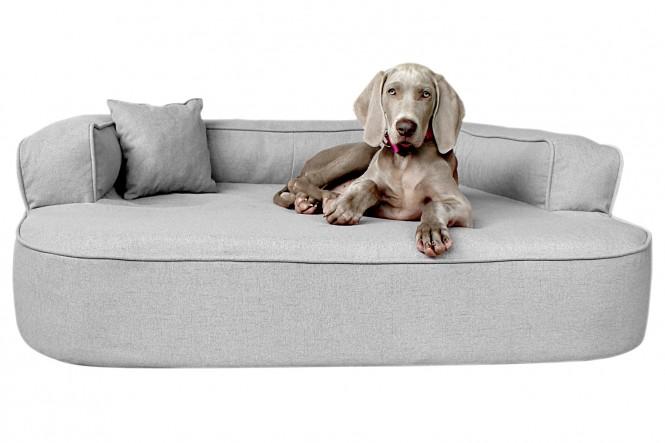 Orthopädisches Hundesofa LOTTE VISCO PLUS XL 120 cm Webstoff Mélange Grau XL   Grau