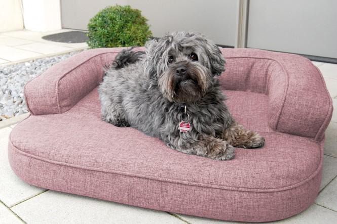 Orthopädisches Hundesofa LOTTE VISCO PLUS M 80 cm Webstoff Mélange Altrosa M | Altrosa