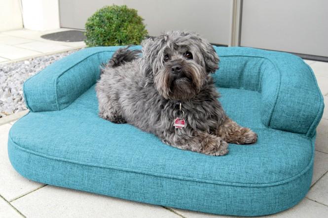Orthopädisches Hundesofa LOTTE VISCO PLUS M 80 cm Webstoff Mélange Türkis Blau M | Türkis Blau