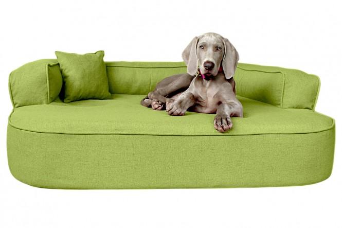 Orthopädisches Hundesofa LOTTE VISCO PLUS XL 120 cm Webstoff Mélange Hellgrün XL   Hellgrün