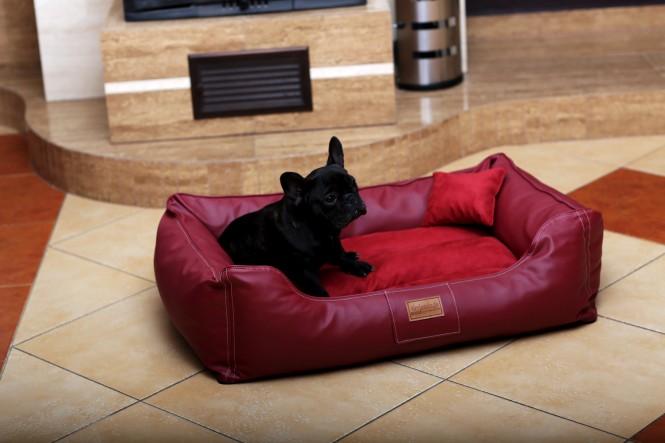 Hundebett MADDOX M 80 cm Kunstleder-Velours Bordeaux-Rot M | Bordeaux-Rot