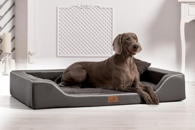Orthopädisches Hundebett MELODY LATEX-Matratzenkern M 85 cm Kunstleder und High-Tech-Velours Graphit M   Graphit