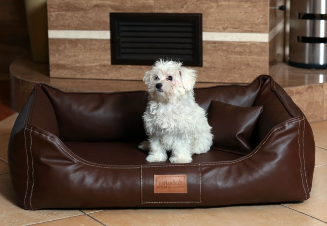 Hundebett MADDOX KOMFORT M 80 cm Kunstleder Braun M | Braun