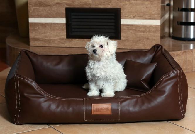 Orthopädisches Hundebett MADDOX VISCO M 80 cm Kunstleder Braun M | Braun