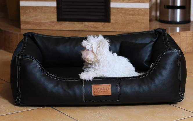 Orthopädisches Hundebett MADDOX VISCO M 80 cm Kunstleder Schwarz M | Schwarz