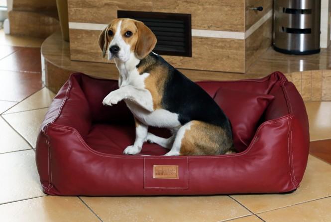 Orthopädisches Hundebett MADDOX VISCO L 100 cm Kunstleder Bordeaux-Rot L   Bordeaux-Rot