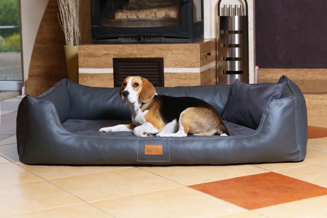 Orthopädisches Hundebett MADDOX VISCO XL 120 cm Kunstleder-Velours Graphit - XL | Graphit