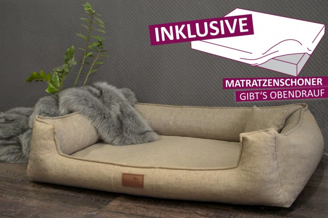 Orthopädisches Hundebett GOOFY Couture >>> inkl. Matratzenschoner <<< M+ 90 cm Beige M+ | Beige