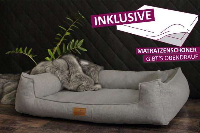 Orthopädisches Hundebett GOOFY Couture >>> inkl. Matratzenschoner <<< XL+ 130 cm Graphit - XL+ | Graphit