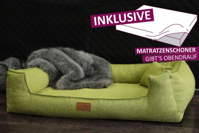 Orthopädisches Hundebett GOOFY Couture >>> inkl. Matratzenschoner <<< M+ 90 cm Hellgrün M+ | Hellgrün