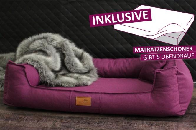 Orthopädisches Hundebett GOOFY Couture >>> inkl. Matratzenschoner <<< XL+ 130 cm Pflaume - XL+ | Pflaume