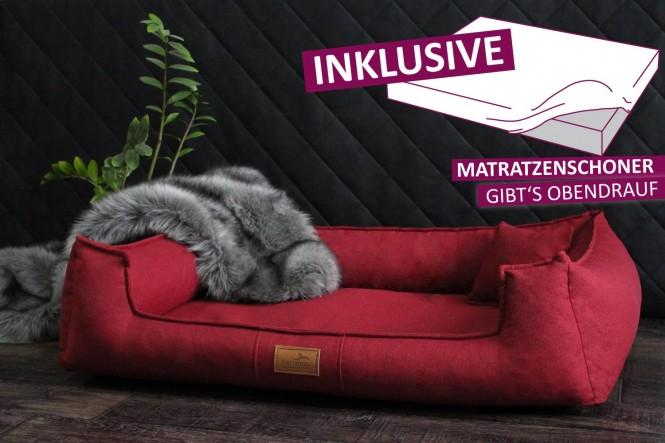 Orthopädisches Hundebett GOOFY Couture >>> inkl. Matratzenschoner <<< M+ 90 cm Bordeaux M+ | Bordeaux