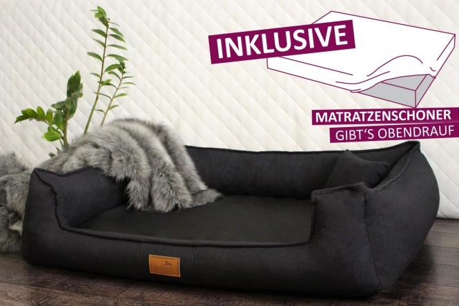 Orthopädisches Hundebett GOOFY Couture >>> inkl. Matratzenschoner <<< M+ 90 cm Schwarz M+ | Schwarz