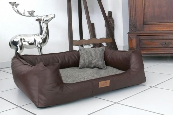 Orthopädisches Hundebett LINUS VISCO PLUS M+ 90 cm Kunstleder Polyester Braun M+ | Braun
