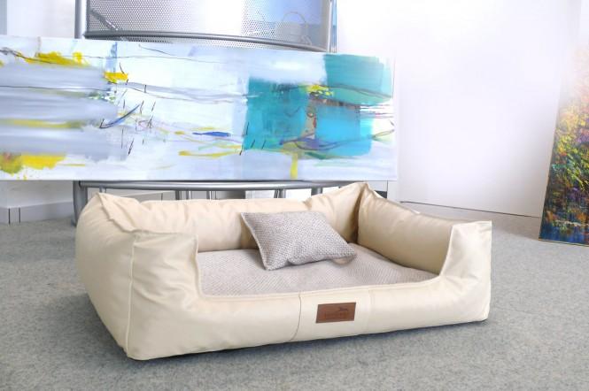Orthopädisches Hundebett LINUS VISCO PLUS M+ 90 cm Kunstleder Polyester Creme M+ | Creme