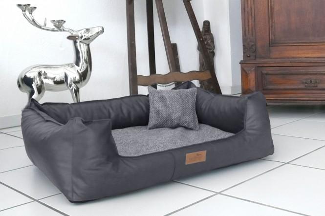 Orthopädisches Hundebett LINUS VISCO PLUS L+ 110 cm Kunstleder Polyester Graphit - L+ | Graphit