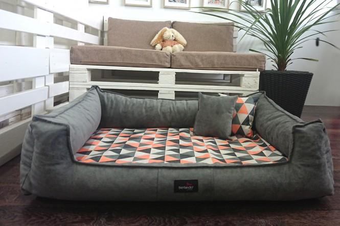 Orthopädisches Hundebett VELVET XL 130 cm samtig weiches Velours | 0218 Graphit-Orange XL+ | Graphit-Orange