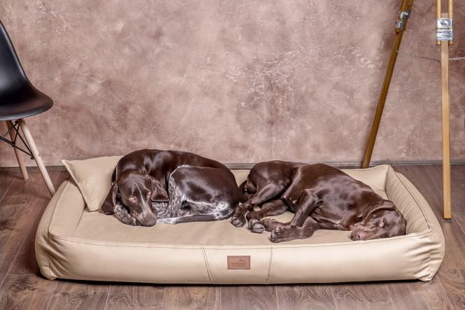 Weiche orthopädische Premium Hundematratze CLIFFORD ORTHO LATEX M 85 cm Kunstleder und High-Tech-Velours Beige M   Beige