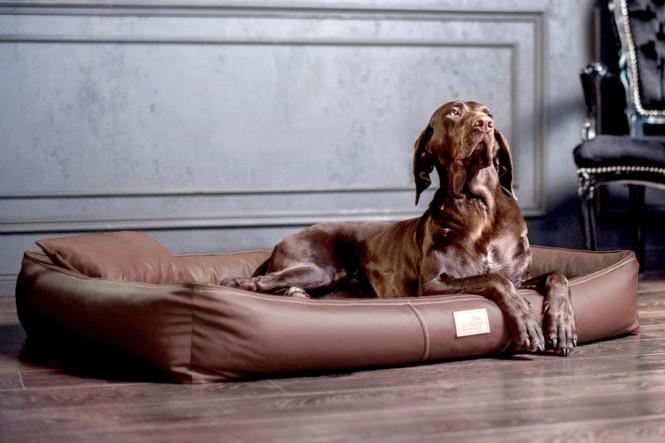 Weiche orthopädische Premium Hundematratze CLIFFORD ORTHO LATEX M 85 cm Kunstleder und High-Tech-Velours Braun M   Braun