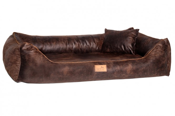 Orthopädisches Hundebett ALBERTO Vintage Velours XL 150 cm Braun - XXL | Braun