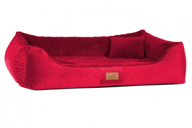 Ultraweiches orthopädisches Hundebett FLOYD High-Tech Velours / Plüsch L 100 cm Himbeere Rot L | Himbeer Rot