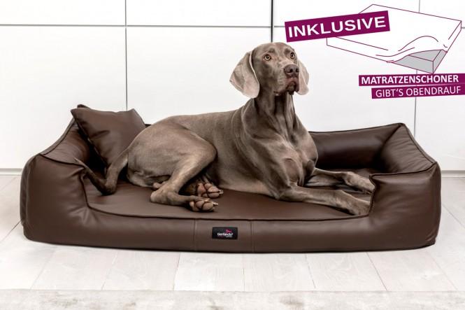 Orthopädisches Hundebett GOOFY VISCO XL+ 130 cm Kunstleder Braun - XL+ | Braun