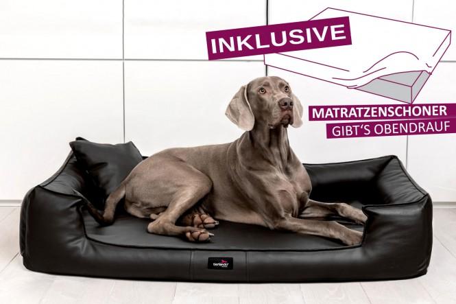 Orthopädisches Hundebett GOOFY VISCO M+ 90 cm Kunstleder Schwarz - M+ | Schwarz