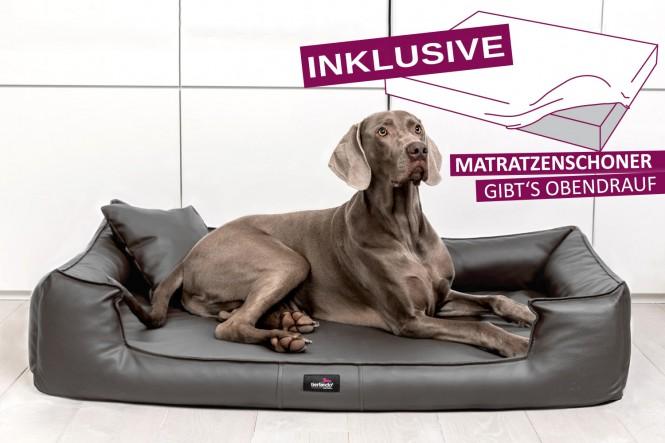 Orthopädisches Hundebett GOOFY VISCO M+ 90 cm Kunstleder Graphit - M+ | Graphit