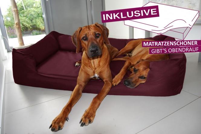 Orthopädisches Hundebett GOOFY VISCO<br>   >>> inkl. Matratzenschoner <<<   L+ 110 cm Polyester 600D Dunkel Bordeaux L+   Dunkel Bordeaux