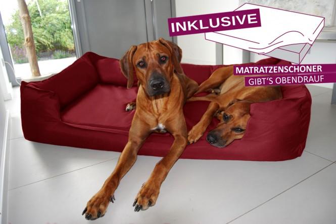 Orthopädisches Hundebett GOOFY VISCO<br> | >>> inkl. Matratzenschoner <<< | XL+ 130 cm Polyester 600D Bordeaux-Rot - XL+ | Bordeaux-Rot