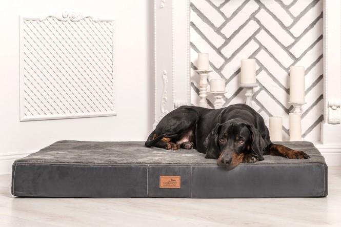 Orthopädische Hundematratze STUART ORTHO PLUS  High-Tech Velours / Plüsch XL 120 cm Graphit - XL | Graphit