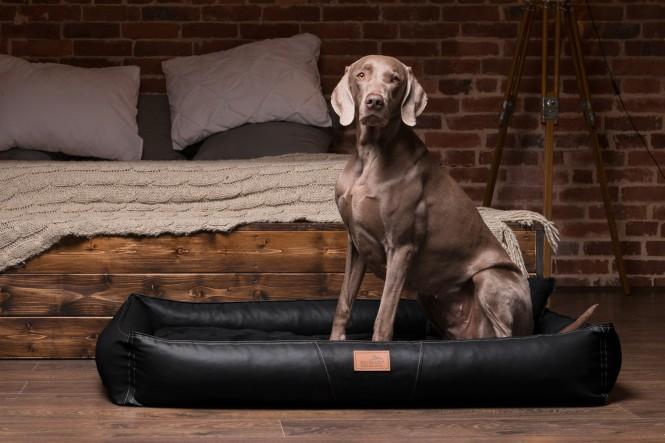 Weiche orthopädische Premium Hundematratze CLIFFORD ORTHO LATEX M 85 cm Kunstleder und High-Tech-Velours Schwarz M | Schwarz