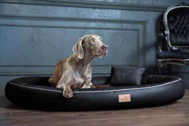 Weiche orthopädische Premium-Hundematratze GILBERT<br>Anti-Haar M 85 cm Kunstleder | 03 Schwarz M | Schwarz