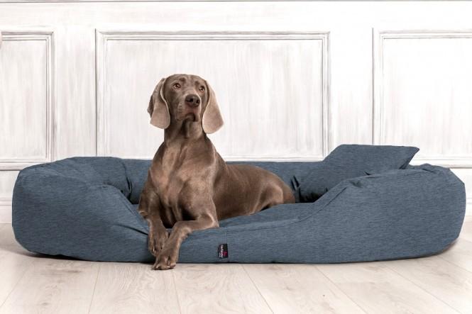 Orthopädisches Hundebett SAMMY VISCO L 100 cm Polyester 600D Leinenlook Navyblau L | Leinenlook Navyblau