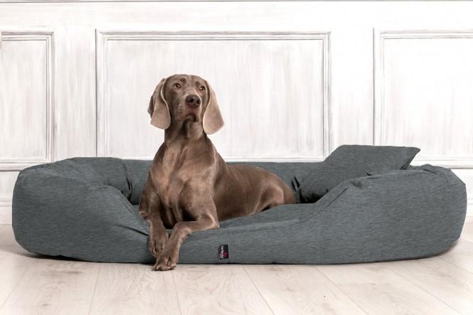SAMMY | Orthopädisches Hundebett - L | Leinenlook Dunkelgrau