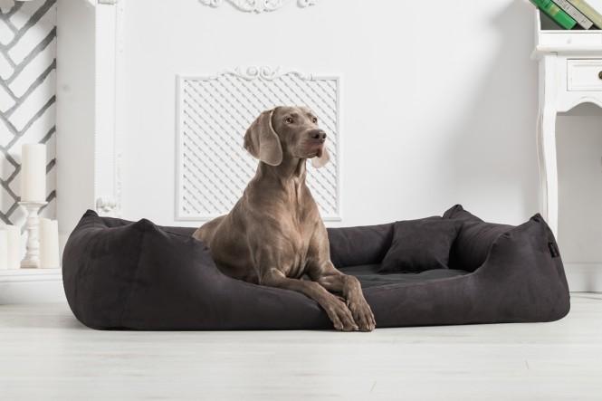 Orthopädisches Hundebett PLUTO VISCO XL+ 130 cm Velours Schwarz - XL+ | Schwarz